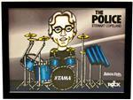 Quadro Pôster Mitos do Rock Stewart Copeland Banda The Police com Moldura e Vidro - Tamanho A3