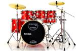 "Bateria X-Pro Stage Plus Apple Red 20"",8"",10"",12"",14"" com Pratos, Ferragens Duplas e Banco"