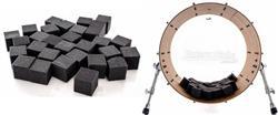 Abafador de Bumbo e Filtro DrumKubes Black WKITBLK Bass Muffle Kit com 30 Cubos e Bag