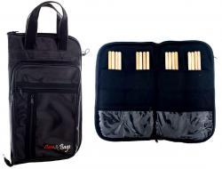 Bag de Baquetas Case & Bags Black em Eco Couro Sintético Tamanho Extra Grande Padrão Top de Linha