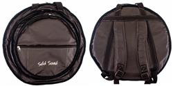"""Bag de Pratos Solid Sound Super Luxo em Couro com 3 Divisões Pratos até 22"""" Alça de Mochila"""