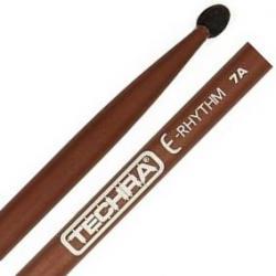 Baqueta Techra E-Rhythm 7A Fibra de Carbono Italiana Ponta de Borracha Ideal para bateria eletrônica
