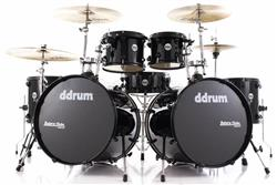 "Bateria DDrum Journeyman Double Down Double Bass Pure Black 22"",10"",12"",14"",16"" com Ferragens"