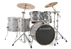 "Bateria Ludwig Element Evolution Silver Sparkle 22"",10"",12"",14"",16"" com Ferragens e Banco"