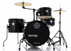 Bateria Ludwig Pocket Kit by Questlove Signature Black Sparkle Compacta com Ferragens e Pratos