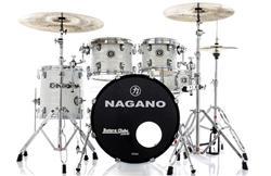 "Bateria Nagano Concert Celluloid Birch Brooklin White 20"",10"",12"",14"" com Kit de Ferragens"