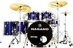 "Bateria Nagano Concert Full Celluloid Birch Brooklin Blue 22"",10"",12"",14"",16"" com Kit de Ferragens"