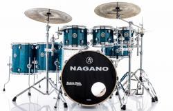 "Bateria Nagano Concert Full Lacquer Birch Deep Blue 22"",8"",10"",12"",14"",16"" com Kit de Ferragens"