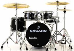 """Bateria Nagano Garage Gig Ebony Sparkle Bumbo 18"""",10"""",12"""",14"""" Kit de Ferragens e Peles Hidráulicas"""