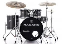 "Bateria Nagano Garage Fusion Vintage Stripe 20"",10"",12"",14"" com Peles Hidráulicas e Banco"