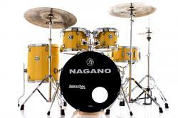 """Bateria Nagano Garage Fusion Yellow Race 20"""",10"""",12"""",14"""" com Peles Hidráulicas e Banco"""