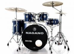 """Bateria Nagano Garage Fusion Blue Night 20"""",10"""",12"""",14"""" com Peles Hidráulicas e Banco"""