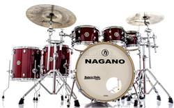 "Bateria Nagano Work Series Birch Red Sparkle 22"",8"",10"",12"",14"",16"" com Ferragens Top da Marca"