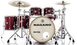 "Bateria Nagano Work Series Birch Red Sparkle 20"",10"",12"",14"",16"" com Ferragens Top da Marca"