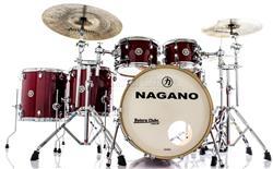 "Bateria Nagano Work Series Birch Red Sparkle 22"",10"",12"",14"",16"" com Ferragens Top da Marca"
