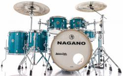 "Bateria Nagano Work Series Blue Bondi Sparkle 22"",10"",12"",14"",16"" com Ferragens Top da Marca"