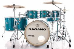 "Bateria Nagano Work Series Blue Bondi Sparkle 20"",8"",10"",12"",14"",16"" com Ferragens Top da Marca"