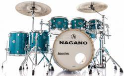 "Bateria Nagano Work Series Blue Bondi Sparkle 22"",8"",10"",12"",14"",16"" com Ferragens Top da Marca"