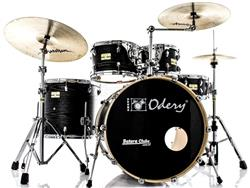 "Bateria Odery Fluence Jam Session FL.200 Black Ash Maple 20"",10"",12"",14"" com Kit de Ferragens"