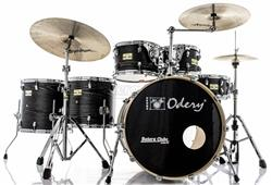 "Bateria Odery Fluence Jam Session FL.220 Black Ash Maple 22"",10"",12"",14"",16"" com Kit de Ferragens"