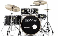 "Bateria Odery Fluence Jam Session FL.200 Black Ash Maple 20"",10"",12"",14"",16"" com Kit de Ferragens"