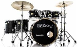 "Bateria Odery Fluence Jam Session FL.220 Black Ash Maple 22"",8"",10"",12"",14"",16"" com Kit de Ferragens"