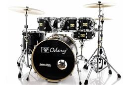 "Bateria Odery Fluence Jam Session FL.200 Black Ash Maple 20"",8"",10"",12"",14"" com Kit de Ferragens"