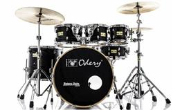 "Bateria Odery Fluence Jam Session FL.220 Black Ash Maple 22"",8"",10"",12"",16"" com Kit de Ferragens"
