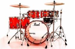 "Bateria Pearl Crystal Beat Ruby Red com Bumbo 22"", Tons 8"", 10"", 12"" e Surdos 14"" e 16"" (Shell Pack)"