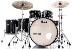 "Bateria Pearl Decade Maple Black Ice Lacquer 22"",10"",12"",14"",16"" com Kit Ferragens 830"