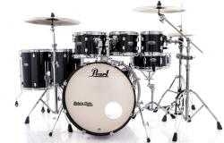 "Bateria Pearl Decade Maple Black Ice Lacquer 20"",8"",10"",12"",14"",16"" com Kit Ferragens 830"