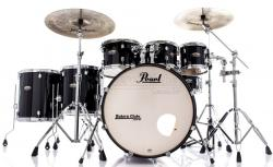 "Bateria Pearl Decade Maple Black Ice Lacquer 22"",8"",10"",12"",14"",16"" com Kit Ferragens 830"