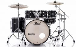 "Bateria Pearl Decade Maple Black Ice Lacquer 22"",8"",10"",12"",16"" com Kit Ferragens 830"