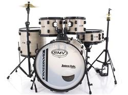 "Bateria RMV Cross Road Fiber Full Bianco Wood 20"",10"",12"",16"" com Pratos, Ferragens e Banco"