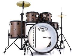 "Bateria RMV Cross Road Fiber Full Brown Wood 22"",10"",12"",16"" com Pratos, Ferragens e Banco"
