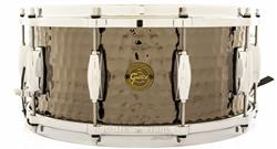 "Caixa Gretsch Full Range Hammered Black Nickel Steel 14x6,5"" com Aros Die-Cast"