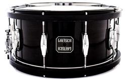 "Caixa Gretsch Full Range Maple Wood-Metal Hoop Piano Black 14x6,5"" com Aros de Madeira e Metal"