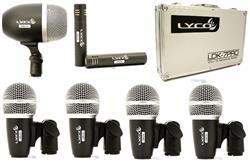 Kit de Microfones Lyco LDK7PRO com 7 Peças, Case, Clamps e Cachimbos