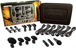 Kit de Microfones Shure PGA Drum Kit7 com 7 Peças, Bag, Cabos, e Clamps para Bateria (Original)