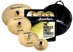 "Kit de Pratos Anatolian Baris Brilliant com Crash 16"", Chimbal 14"", Ride 20"", Splash 10"" e Bag"