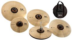 "Kit de Pratos Batera Clube Solutions Full com Crashes 16"", 18"", Hihat 14"", Ride 20"", Splash e Bag"
