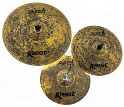 """Kit de Pratos Krest Aged Brass Vintage ABSET3 com Chimbal 14"""", Crash 16"""", Ride 20"""" e Bag Grátis"""