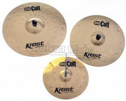 """Kit de Pratos Krest Deep Cult com Chimbal 14"""", Crash 18"""", Ride 20"""" e Bag Grátis DCSET1"""