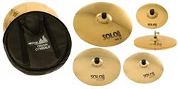 "Kit de Pratos Orion Solo Pro 10 Full SP102 com Crashes 16"" e 18"", Hihat 14"", Ride 20"", Splash e Bag"