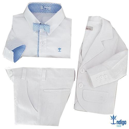cd5140eb7e Conjunto Camisa Social Infantil Menino Linho Ásia Branca Azul Bebê ...