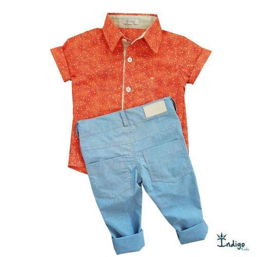 5a020210bf4fd Conjunto Infantil Camisa Angola   COMPRE POR LOOK - Casual Social ...