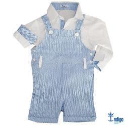 ae8922af00 Conjunto Camisa Social Jardineira Ásia Azul Bebê Branca