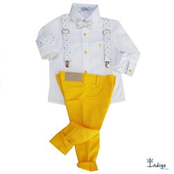 99f40e977c Camisa Egito + Calça amarela + Gravata e suspensório estampado