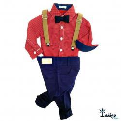 47d4e79ebf Camisa ou Body Moscou + Calça ou Bermuda Azul Marinho + Gravata Azu +  Suspensório Caramelo