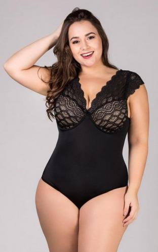 Body Modelador com Renda Plus Size